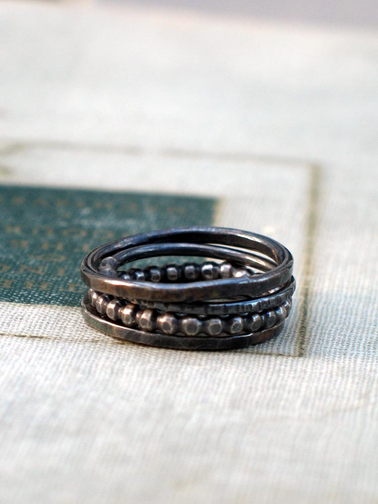 silver stacking rings set of 4